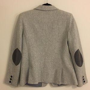 NEW LOFT Petite Grey Tweed Blazer Patch Elbows
